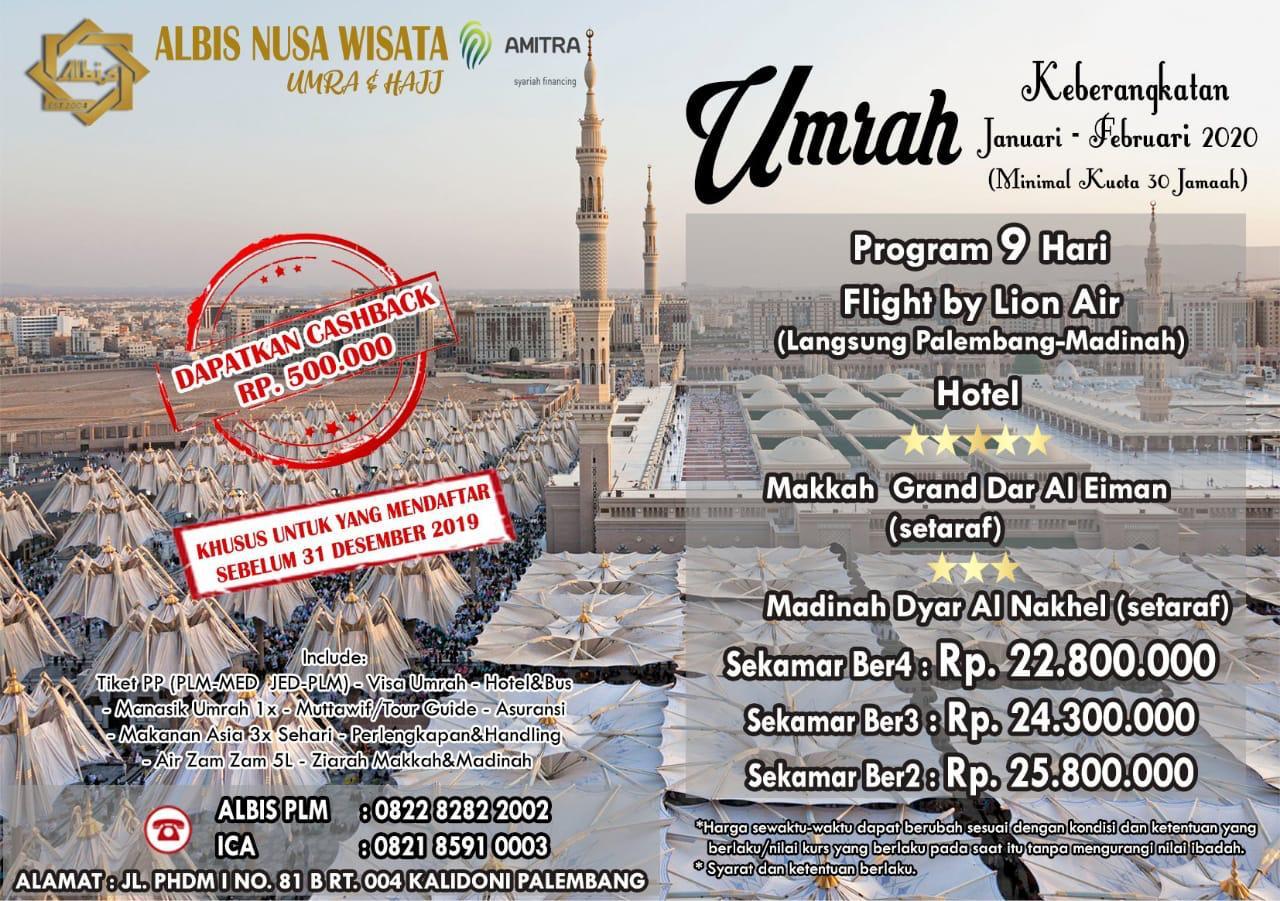Umroh 9 hari by Lion Air Pebruari 2020 starting Palembang