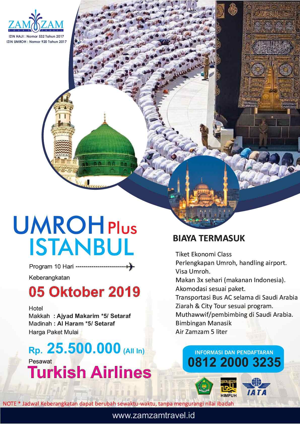 10 hari by turkish airlines umroh plus city tour istanbul 5 okt 2019